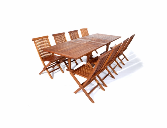 Java Teak 9-Piece Extension Table And Folding Chair Set
