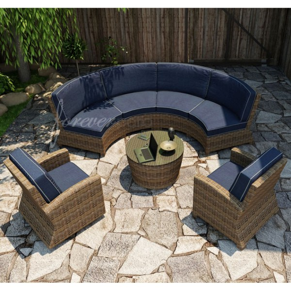 curved outdoor sectional patio furniture Forever Patio Cypress Wicker Curved Sofa Sectional 5-Pc
