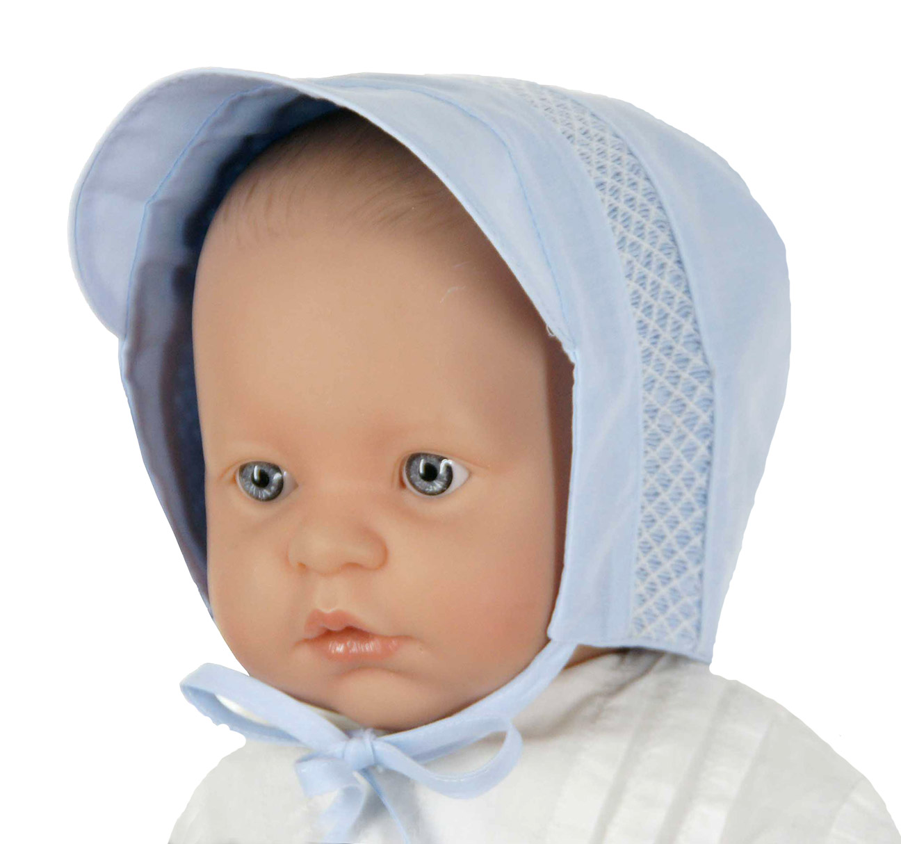 Feltman Brothers Blue Baby Hat With White Smockingbaby