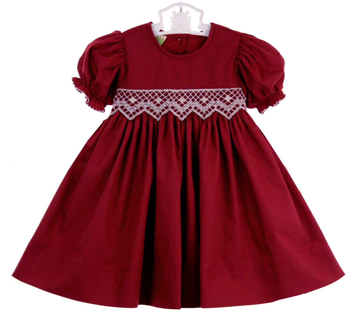 Le Za Me Cranberry Smocked Dress With Antique White