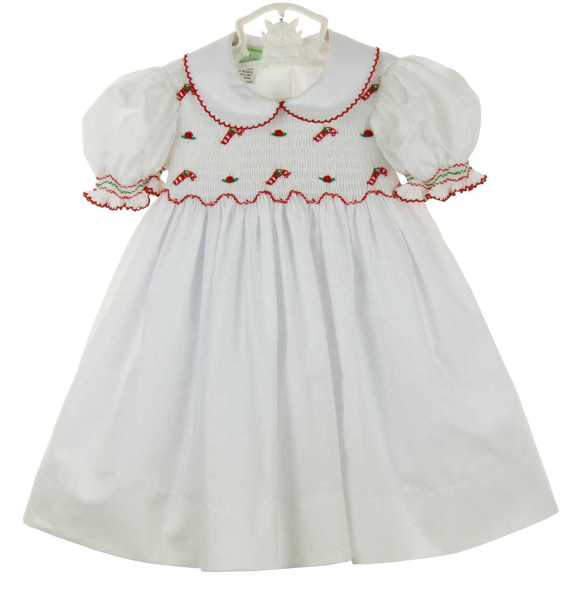 Little Threads White Smocked Dress With Embroidered Candy