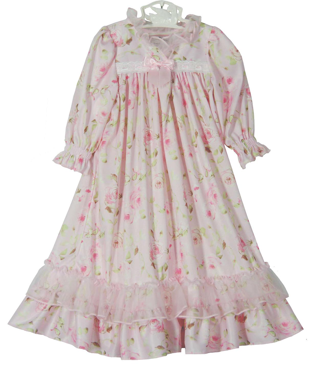 Pink Rose Flowered Nightgown With Pink Ribbonpink