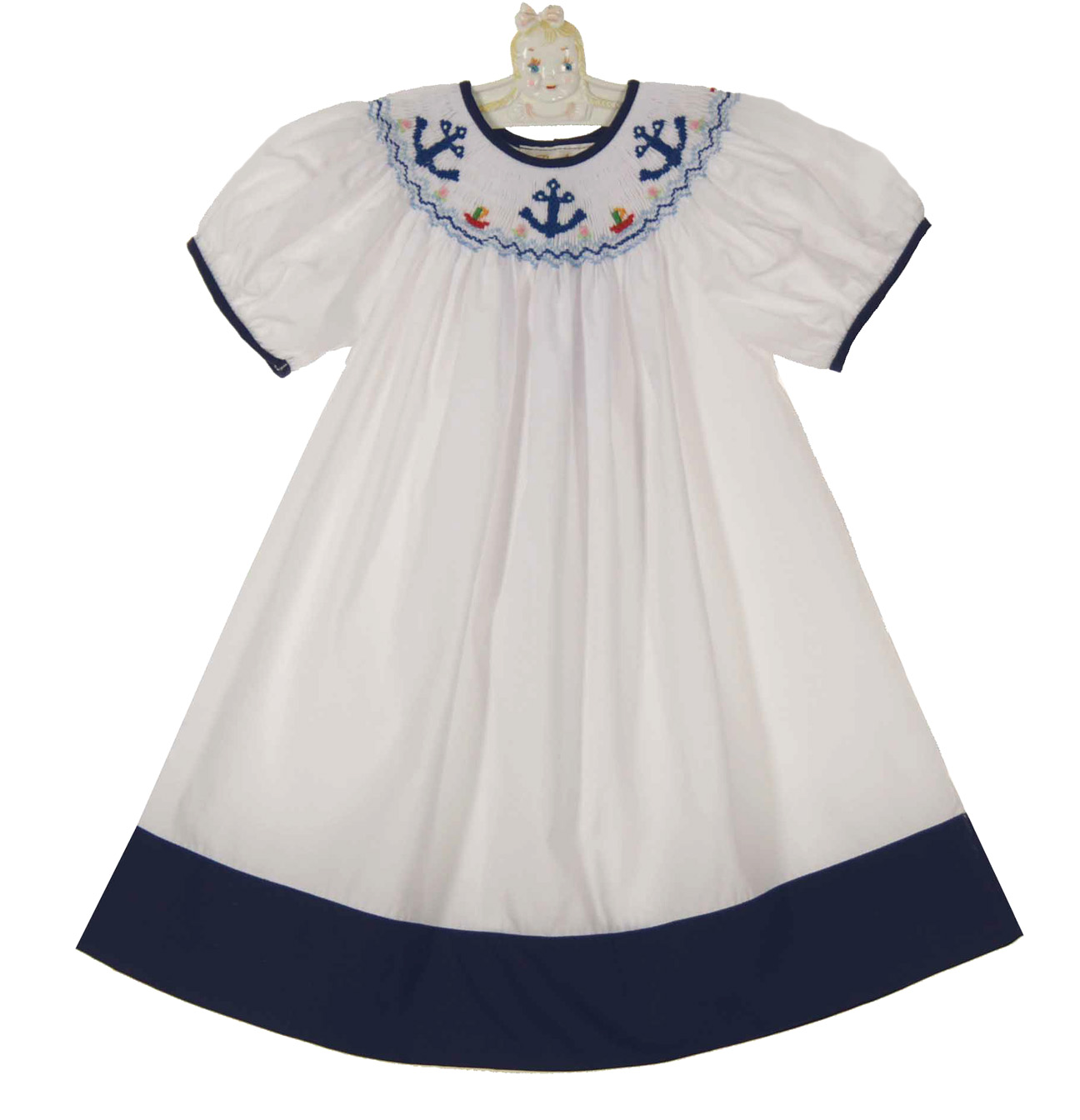 Rosalina White Bishop Smocked Sailor Dresswhite Bishop