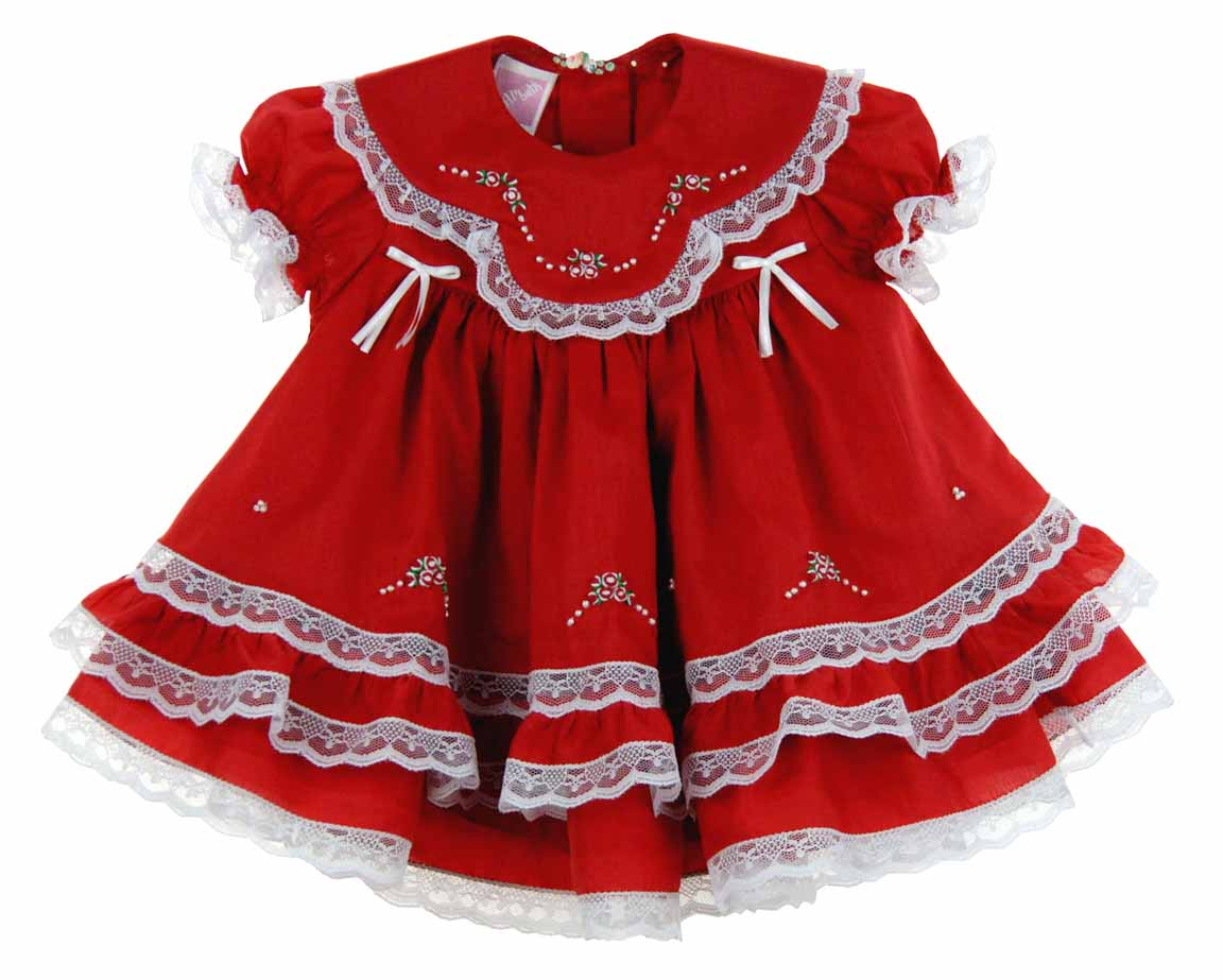 Willbeth Red Christmas Dress With Lace And Embroideryred