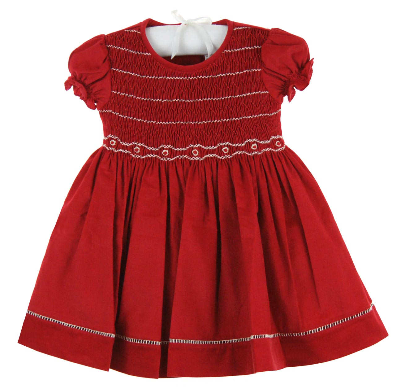 WillBeth Red Smocked Dress With White Embroideryred