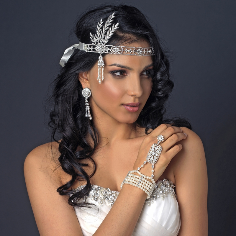 Great Gatsby Inspired Light Rhodium Headpiece HP 9996 With