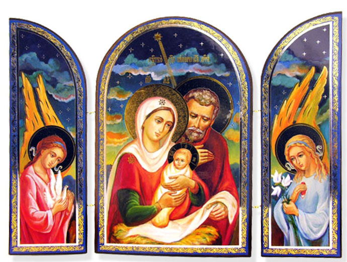 The Holy Family And Nativity Of Christ Orthodox Triptych