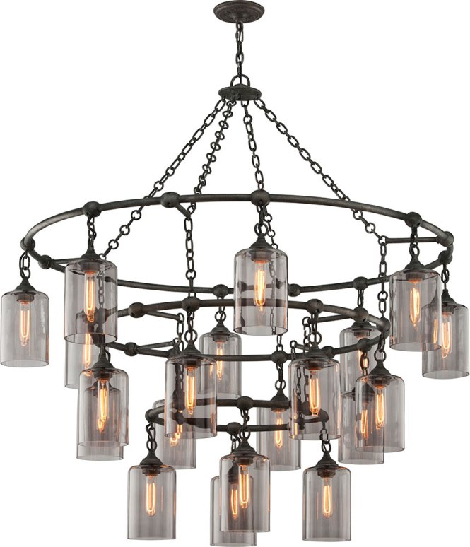 Troy F4426 Gotham Hand Worked Wrought Iron Chandelier Light Loading Zoom