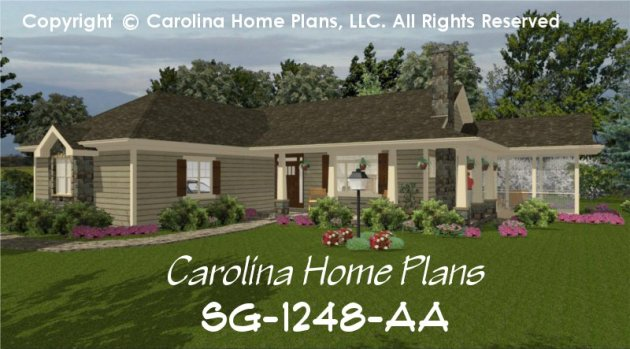 Small Country Ranch House Plan CHP SG 1248 AA Sq Ft   Affordable     CHP SG 1248 AA br   Small Country Ranch House Plan