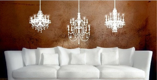 Vinyl Wall Art Chandelier Decals 3 Chandeliers