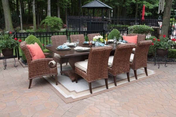 luxury outdoor patio furniture Aerin Collection All Weather Wicker Luxury Patio Furniture