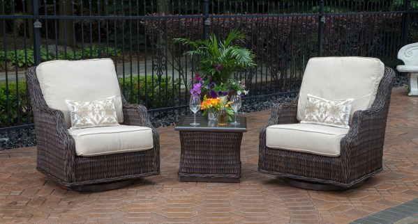 outdoor wicker patio furniture sets Mila Collection 2-Person All Weather Wicker Patio
