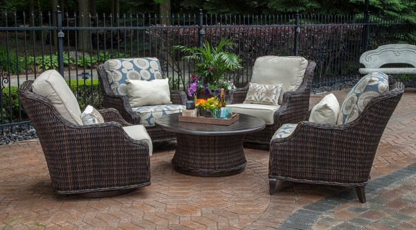 outdoor wicker patio conversation sets Mila Collection All Weather Wicker Patio Furniture
