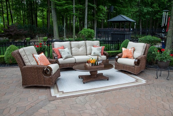 outdoor wicker furniture 5 piece patio set The Aerin Collection 5-Piece All Weather Wicker Patio