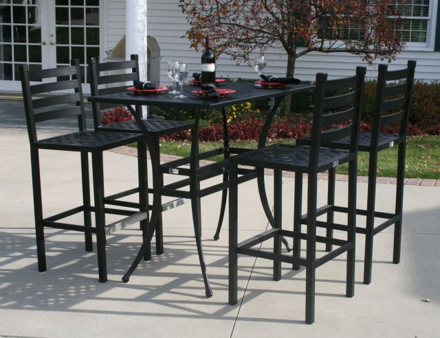 ansley luxury 4-person all welded cast aluminum patio furniture bar