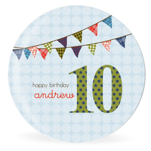 Birthday Boy Bunting Personalized Kids Plate by dylbug
