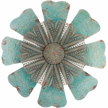 28 Embossed Lace Flower Metal Outdoor Wall Art