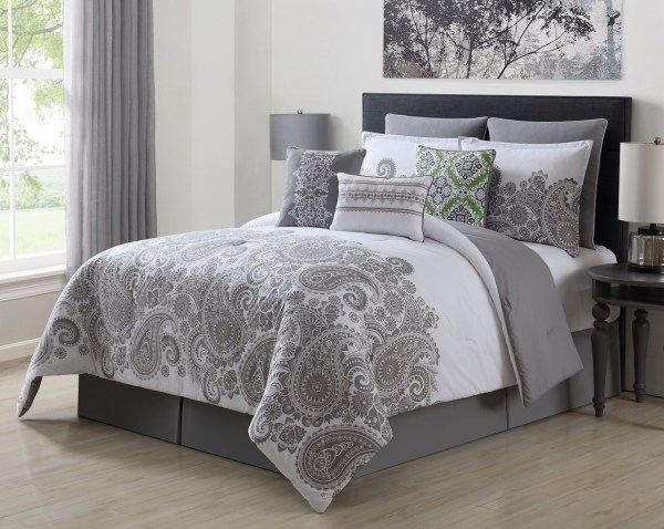 13 Piece Mona Gray/White 100% Cotton Bed in a Bag Set