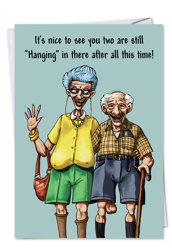 Hanging In There Funny Cartoon Anniversary Card  Ndash     Humorous Anniversary Paper Greeting Card by Erik Hilliker from  NobleWorksCards com   Hanging in There