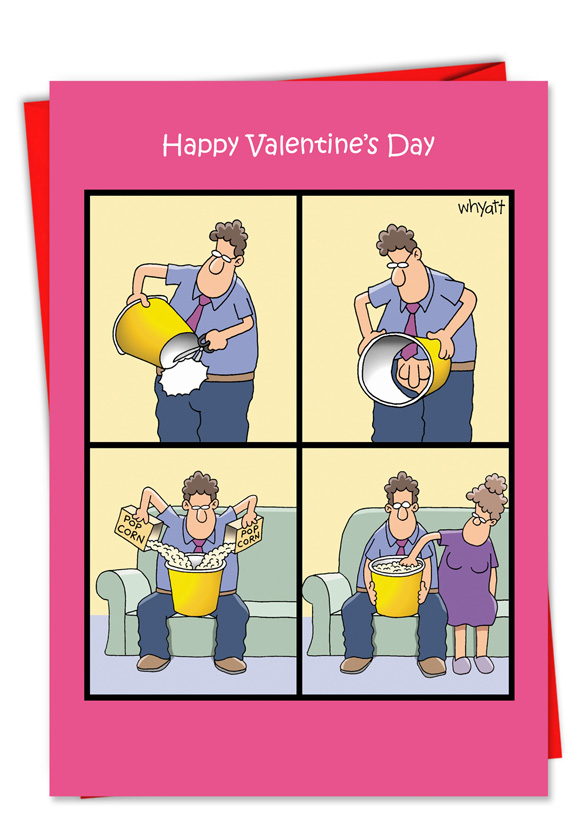 Popcorn Touch Funny Valentines Day Greeting Card