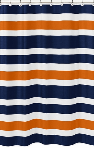 Navy Blue And Orange Stripe Kids Bathroom Fabric Bath Shower Curtain Only 3999