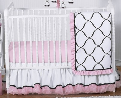Pink  Black and White Princess Baby Bedding   4pc Crib Set only  139 99 Pink  Black and White Princess Baby Bedding   4pc Crib Set   Click to  enlarge