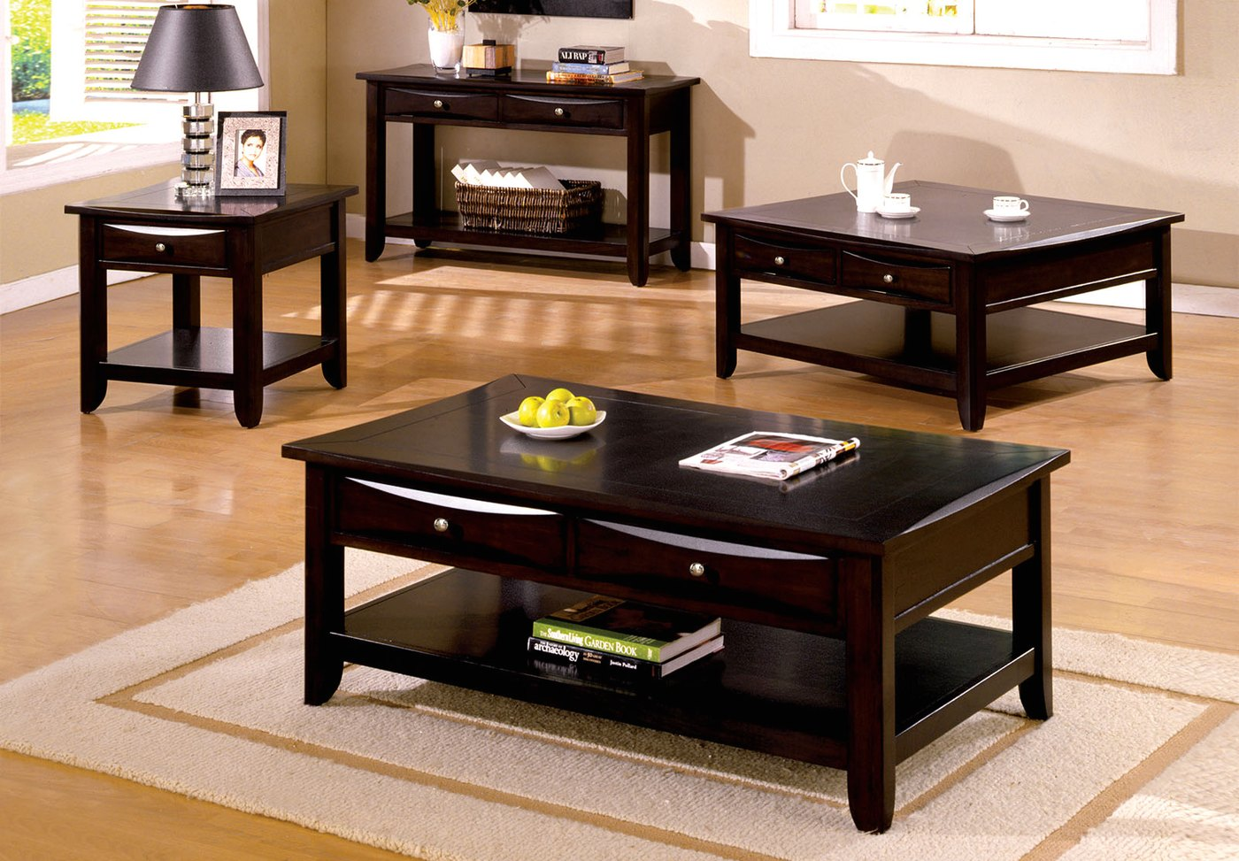 Baldwin Contemporary Espresso Accent Tables With Drawers
