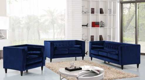 Brycen Contemporary Navy Velvet Sofa   Loveseat w  Button Tufted Accents