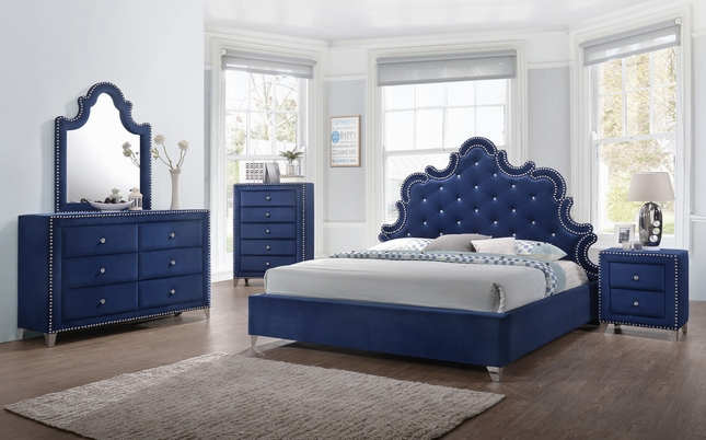Calista Modern Crystal Tufted Navy Velvet King Bed Set W