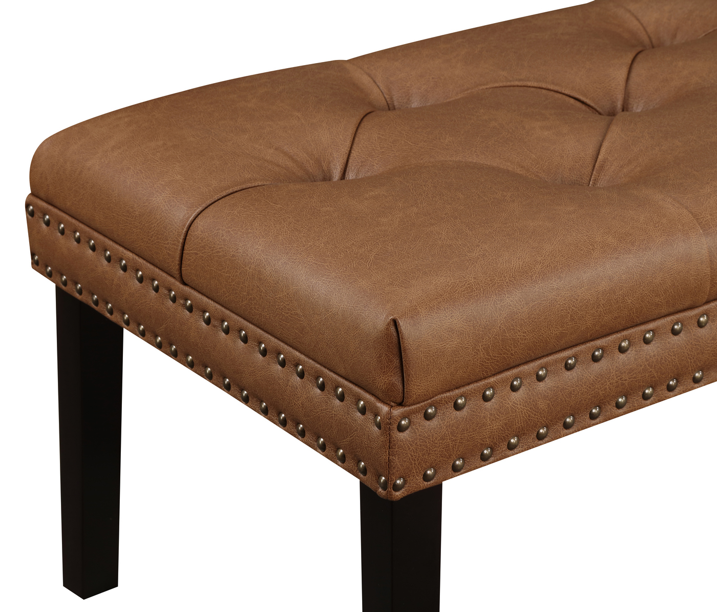 Covington Faux Leather Diamond Tufted Bench with Nailhead ... on Cognac Leather Headboard  id=94078
