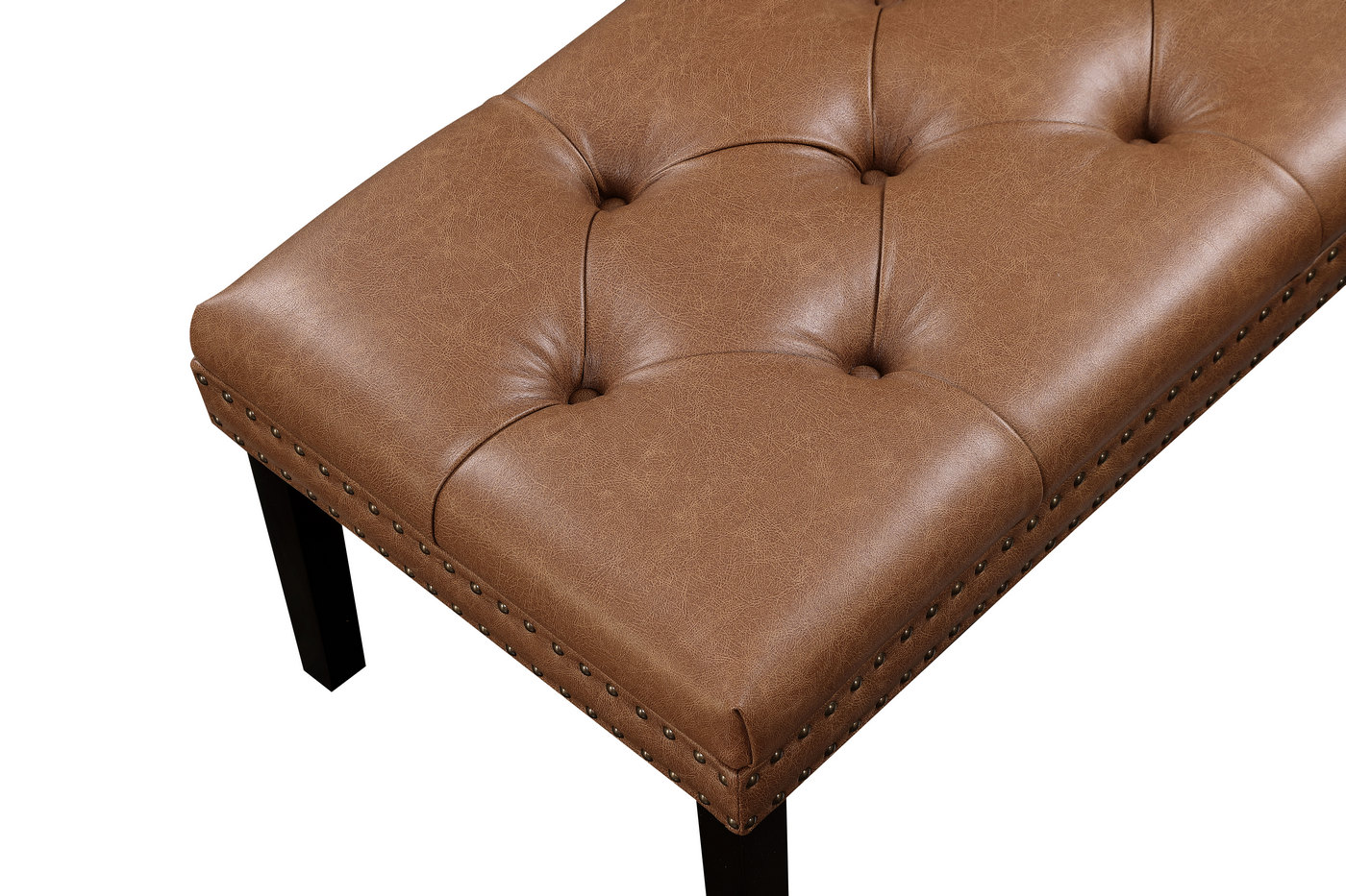 Covington Faux Leather Diamond Tufted Bench with Nailhead ... on Cognac Leather Headboard  id=19351