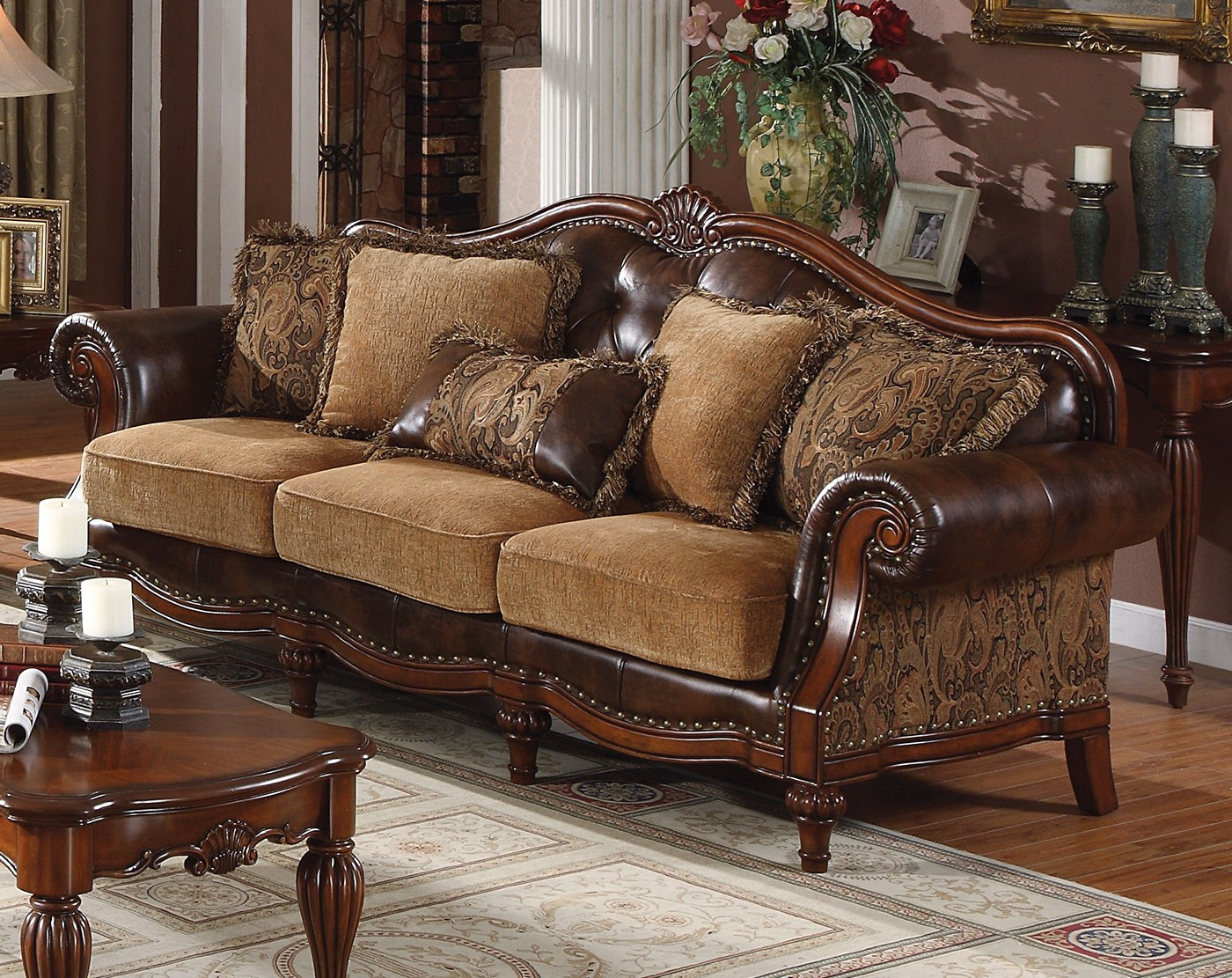 Delphina Traditional Sofa & Loveseat In Brown Faux Leather