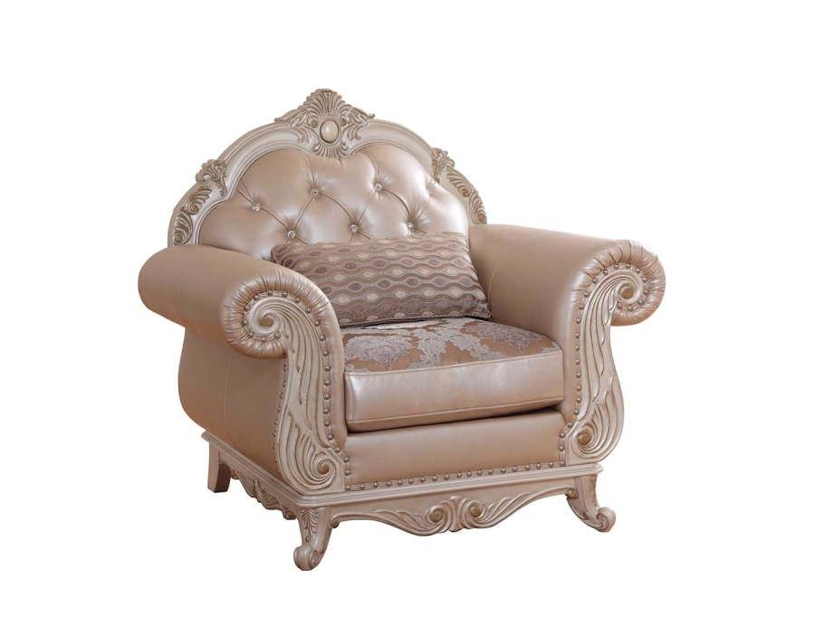 Elegant Metallic Pearl Button Tufted Leather Formal Living