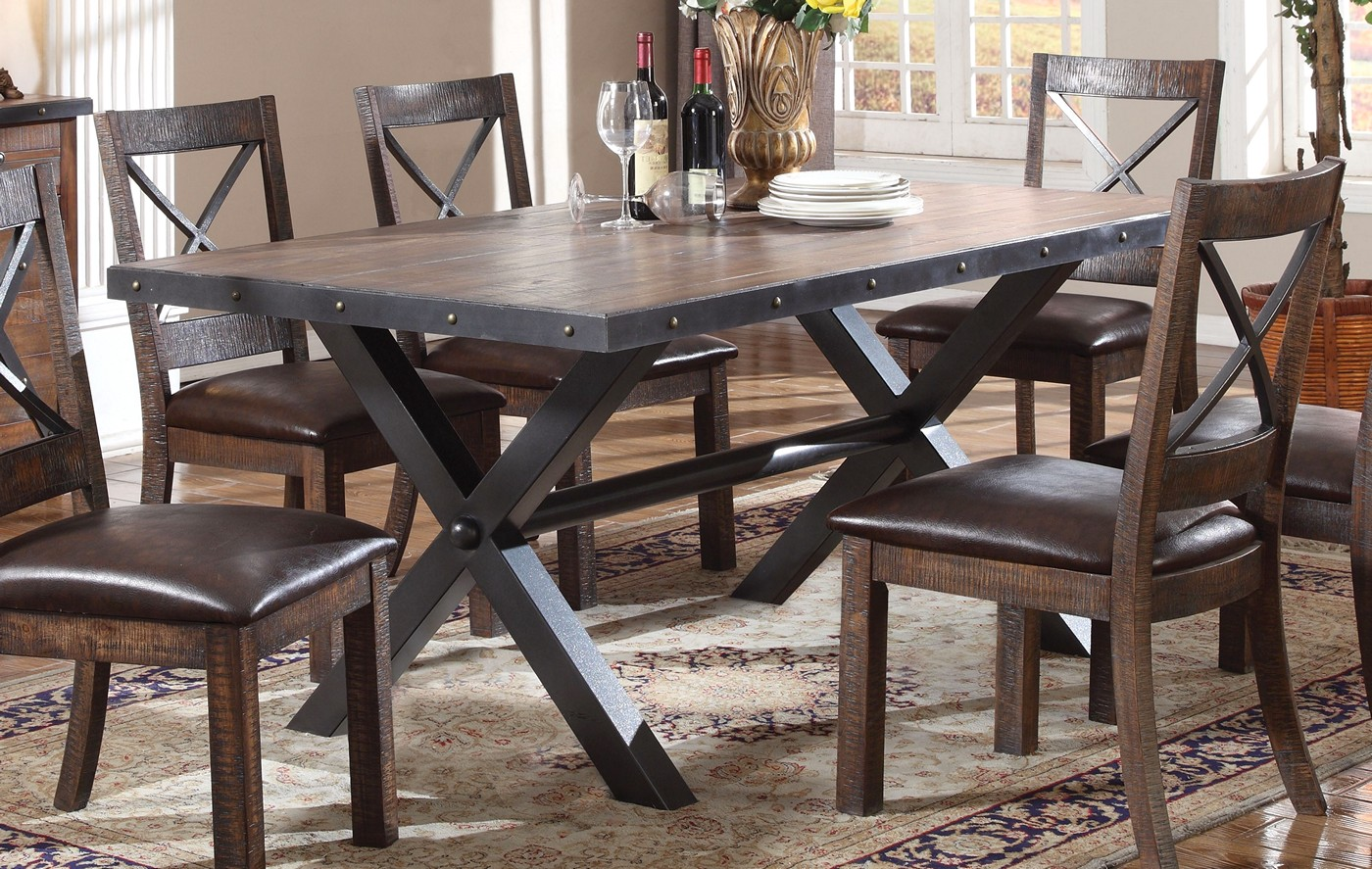 Emerson Rustic 68 Weathered Cherry Finished Dining Table