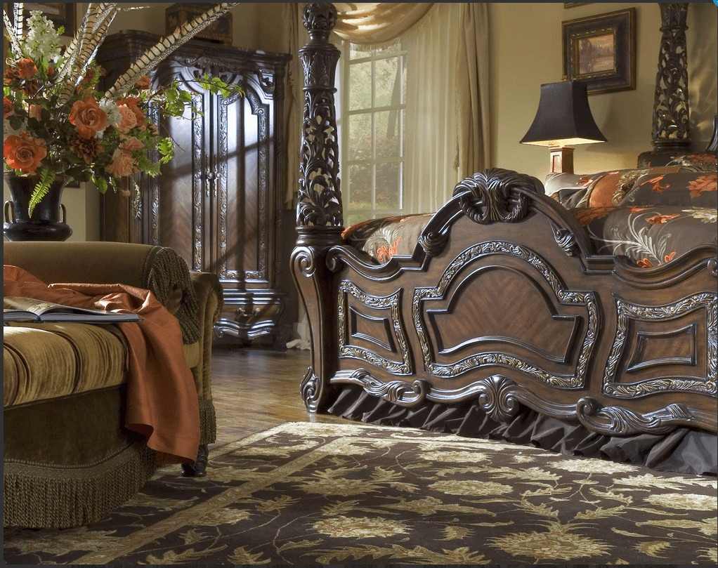 Michael Amini Essex Manor Luxury Poster Bed Carved Wood