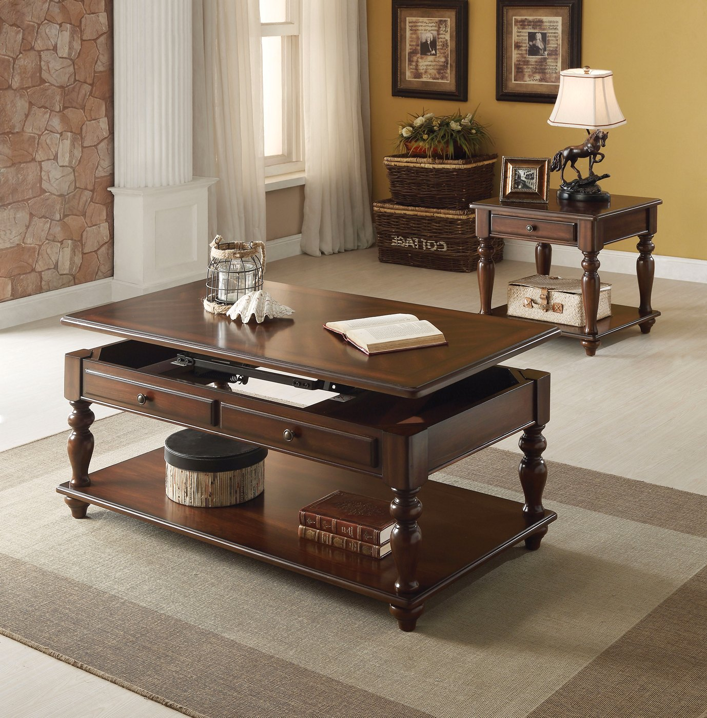 Faolan Classic Storage Coffee Table W Lift Top Accent In