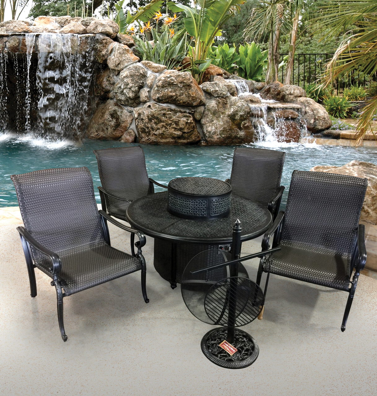 Fiesta 6 Piece Cast Aluminum Patio Fire Pit Dining ... on Outdoor Dining Tables With Fire Pit id=22729