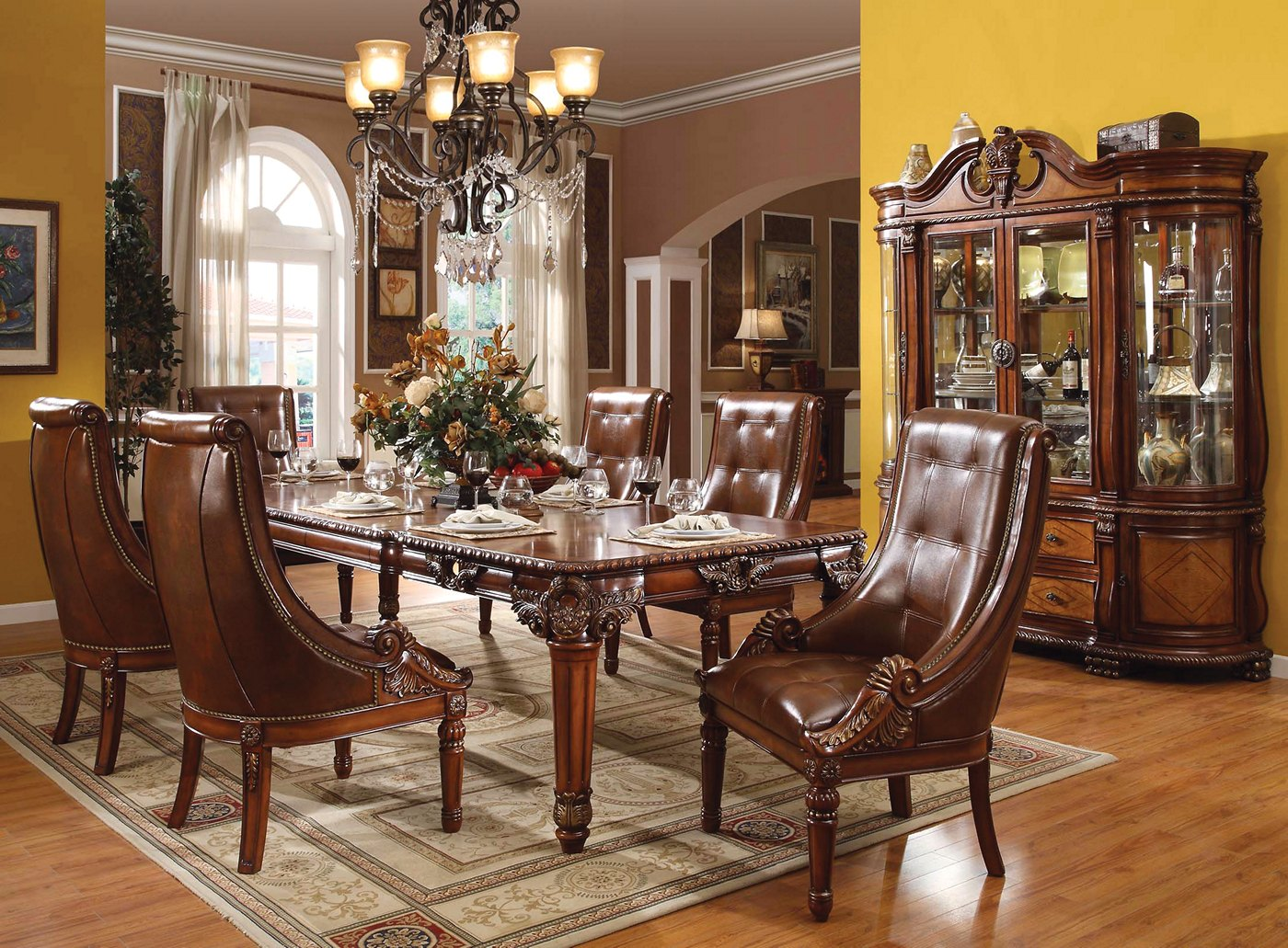 """Greyson Traditional 5-pc Ornate 80""""-120"""" Dining Table Set"""