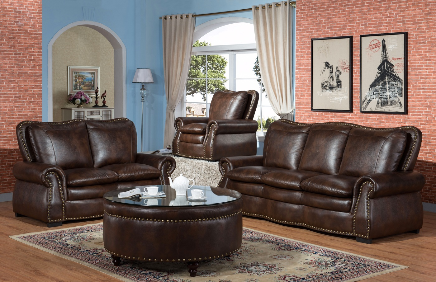 Lincoln Traditional Brown Sofa & Loveseat Set In Leather