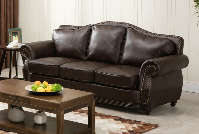 Linden Traditional Brown Bonded Leather Sofa With Nail