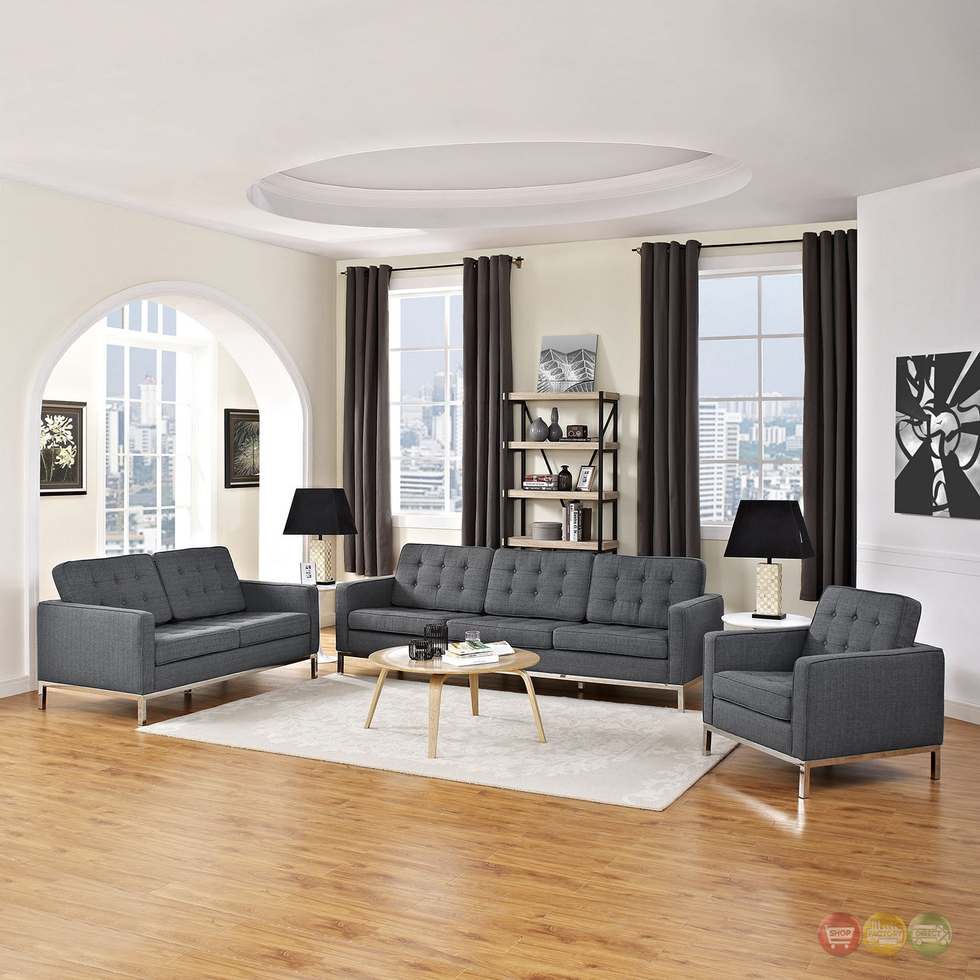 Turn your living room into a lovely space that's relaxing yet functional by selecting the right lighting. Mid-Century Modern Loft 3pc Button-Tufted Living Room Set ...