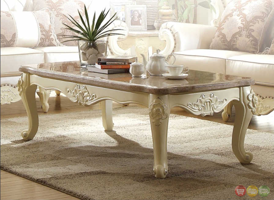 Traditional Living Room Set W/Pearl Bonded Leather And