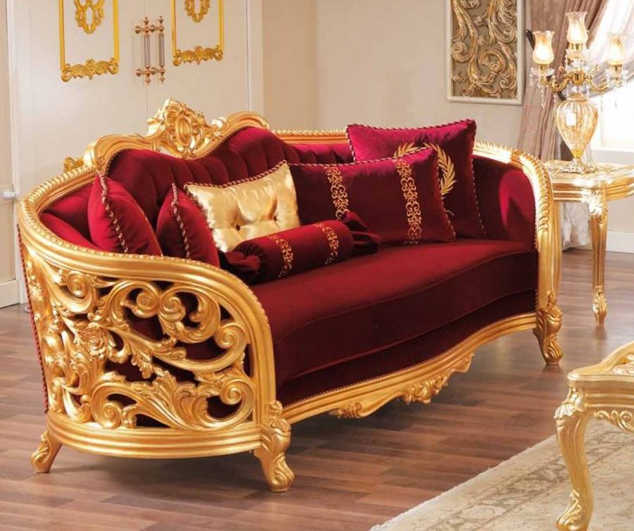 Perhaps our collection of light and dark grey. Monique Victorian Ruby Red Luxury Sofa & Loveseat Set Gold ...