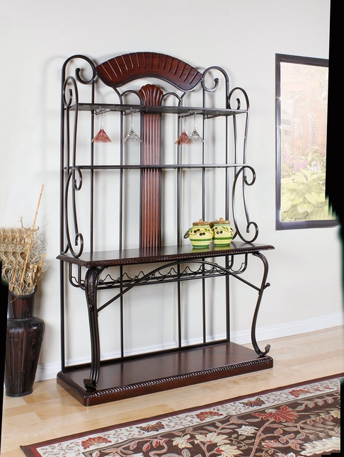 obasi casual baker s rack cherry wood