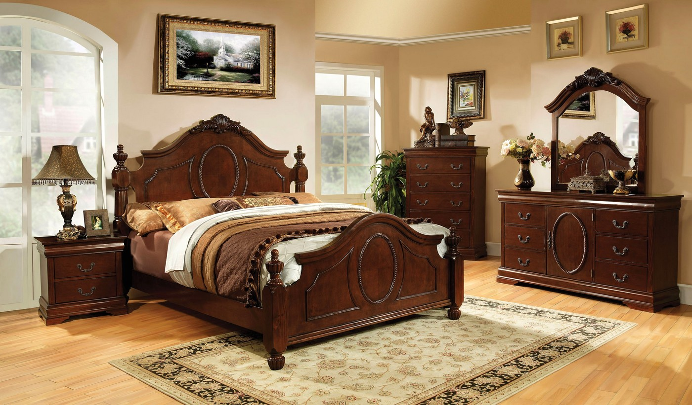 details about clarissa ii traditional baroque style 4 pc queen bedroom set brown cherry finish