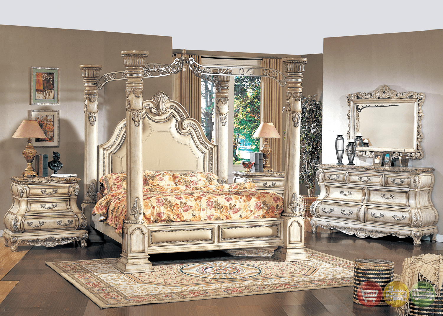 Victorian Inspired Antique White California King Poster Canopy Bed Traditional Bedroom Furniture