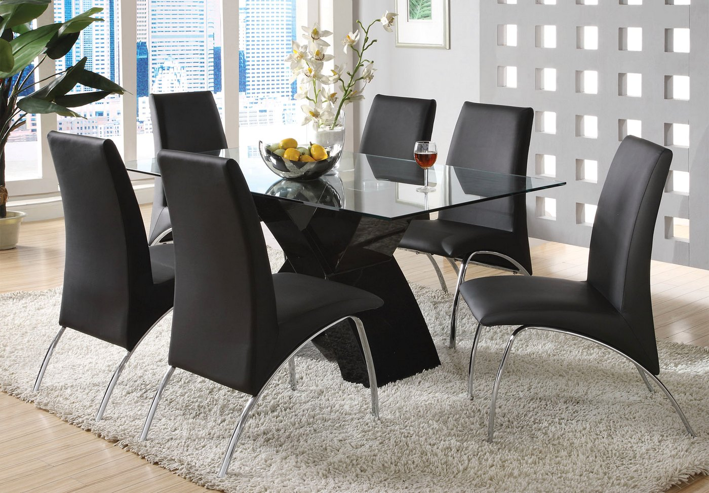 Wailoa Contemporary Black Casual Dining Set With X Shape Table Base CM8370BK