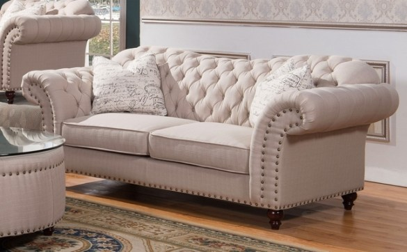 Walton Traditional Sweetheart Button Tufted Sofa In Beige Linen