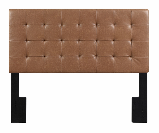 Wilburton Faux Leather Biscuit Tufted King Headboard in ... on Cognac Leather Headboard  id=18299