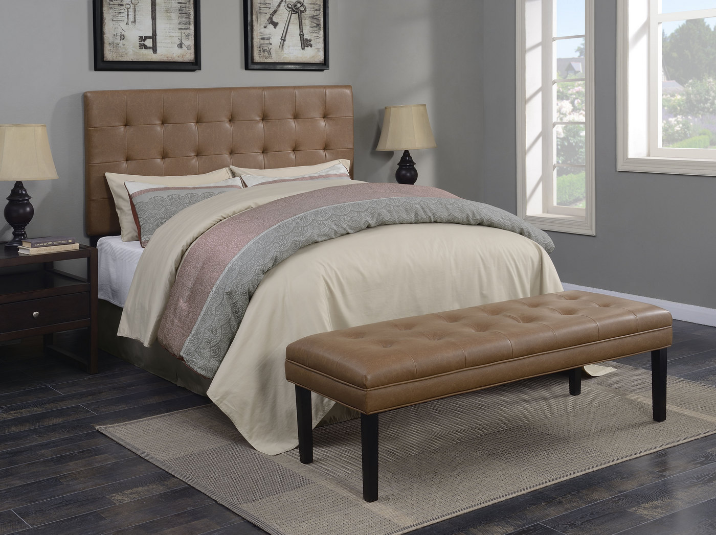 Wilburton Faux Leather Biscuit Tufted Full/Queen Headboard ... on Cognac Leather Headboard  id=58341
